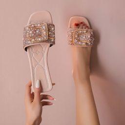 Faux Pearl & Rhinestone Decor Slide Sandals   SHEIN