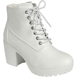 Forever Link Shoes Women's Casual boots WHITE - White Plus Lace-Up Platform Ankle Boot - Women   Zulily