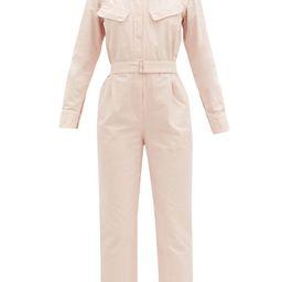 Officine Générale - Serine Garment-dyed Cotton Jumpsuit - Womens - Light Pink   Matchesfashion (Global)