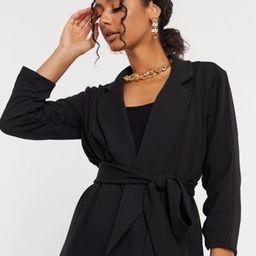 ASOS DESIGN jersey wrap suit blazer in black | ASOS (Global)