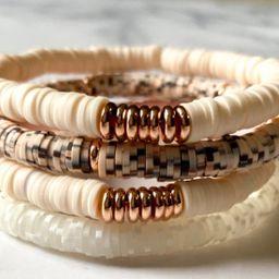Cream and Tortoise Vinyl Heishi Stack/6mm Heishi Bracelet/Custom Bracelets/Name Bracelets/African... | Etsy (US)