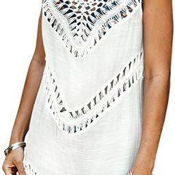 Women's White Crochet Sleeveless Tunic V Neck Cover Up | Amazon (US)