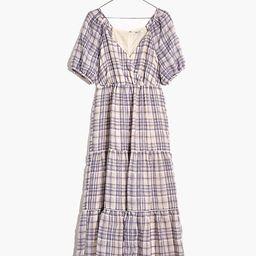 Puff-Sleeve Faux-Wrap Tiered Midi Dress | Madewell