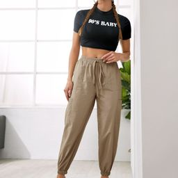 Solid Knot Front Sweatpants   SHEIN