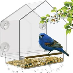 Window Bird Feeder - Large Bird House for Outside. Removable Sliding Tray with Drain Holes. Best ... | Amazon (US)
