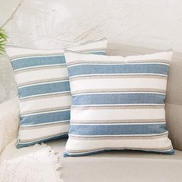 NATUS WEAVER Decorative Linen Throw Pillow Cases Cushion Covers Soft Linen Textured for Bedroom, ... | Amazon (US)