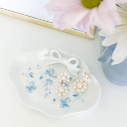 PRE-ORDER Blue Floral Bow Dish — Simply Jessica Marie | Simply Jessica Marie