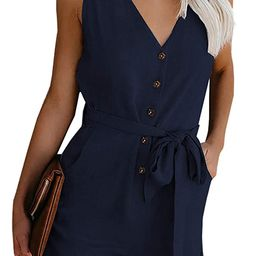 Womens V Neck Button Down Tank Romper Short Pant Jumpsuit with Pocket | Amazon (US)