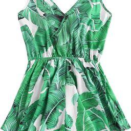 Women's V Neck Tropical Print Elastic Waist Tulip Hem Cami Romper | Amazon (US)