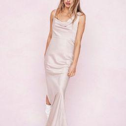 One Shoulder Cowl Neck Satin Maxi Dress | NastyGal