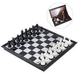 3 in 1 Magnetic Chess Checkers Backgammon Set Folding Portable Travel Chess Board Classic Educationa | Walmart (US)