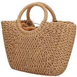 Natural Chic Straw Bag Hand Woven Round Handle Handbags Retro Summer Beach Bag Beach Bag   Amazon (US)