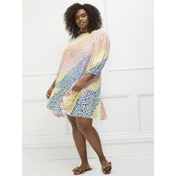 ELOQUII Elements Women's Plus Size Rainbow Print Tiered Easy Dress | Walmart (US)