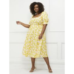 ELOQUII Elements Women's Plus Size Blossom Print Fit and Flare Dress with Puff Sleeves | Walmart (US)