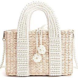 LiuliuBull W Women's Bag with Pearl Ladies Hand Bags Straw Basket Large Tote Crossbody Messenger ...   Amazon (US)