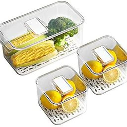 MineSign Refrigerator Organizer Bins with Lids and Removable Drain Tray Food Storage Containers F... | Amazon (US)