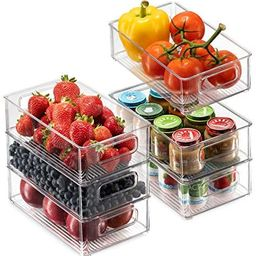 Set Of 6 Refrigerator Organizer Bins - Stackable Fridge Organizers with Cutout Handles for Freeze... | Amazon (US)