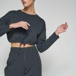 100% Organic Cotton Natural Dye Drawstring Hem Sweatshirt   nu-in Nordics