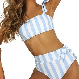 Womens High Waisted Bikini Set Tie Knot Bathing Suit Striped Hi Rise Two Piece Swimsuits | Amazon (US)