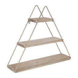 Kate and Laurel Tilde 3-Shelf Wooden Floating Wall Shelf in Beige/Gold | Bed Bath & Beyond | Bed Bath & Beyond