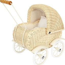 small foot wooden toys Baby Doll Classic Vintage Wicker Pram Designed for Children Ages 3+ Years,... | Amazon (US)