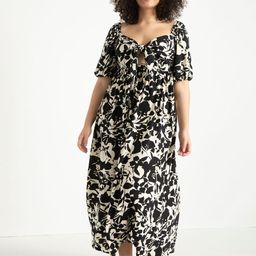 Tie Front Full Skirted Maxi Dress   Eloquii