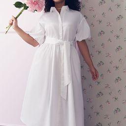 Puff Sleeve Button Down Dress   Eloquii