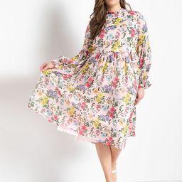 Sheer Midi Dress with Pleat Detail   Eloquii