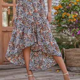 Ditsy Floral Print High Low Skirt   SHEIN