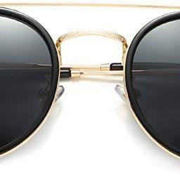 DUSHINE Small Round Double Bridge Sunglasses For Women Men Polarized 100% UV Protection | Amazon (US)