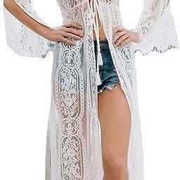 Women Sexy Chiffon/Rayon Open Front Kimono Cardigan Long Swimsuit Cover Up | Amazon (US)