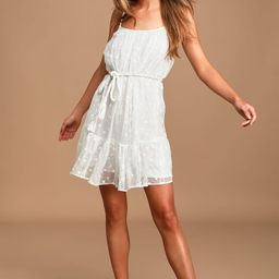 Putting it Sweetly White Embroidered Swing Dress | Lulus (US)