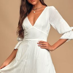 In the Meadow White Embroidered Backless Mini Dress | Lulus (US)