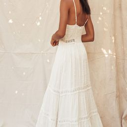 Light Breeze White Striped Crochet Lace Tiered Maxi Dress | Lulus (US)