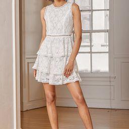 Properly Chic White Sleeveless Lace Tiered Mini Dress | Lulus (US)