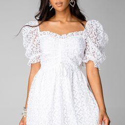 Colby Puff Sleeve Mini Dress - White | BuddyLove