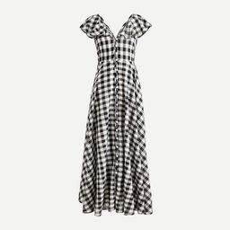 Button-up ruffle dress in gingham | J.Crew US