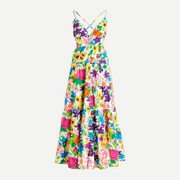 Cotton-poplin button-up dress in vibrant garden | J.Crew US