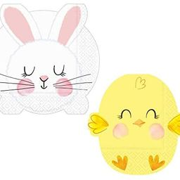 Easter Bunny & Chick Napkins Set | Bunny Lunch and Baby Chick Beverage Napkins for 16 People | Hi... | Amazon (US)