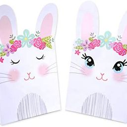 WEEPA 20 Pack Easter Paper Bags for Kids Easter Cute Bunny Paper Treat Bags Party Favor Gift Cand... | Amazon (US)