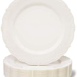 25 Pack Plastic Dinner Plates for Party, Cream with Fine Detailing (10 Inches) | Amazon (US)