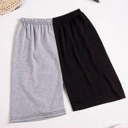Two Tone Spliced Biker Shorts | SHEIN