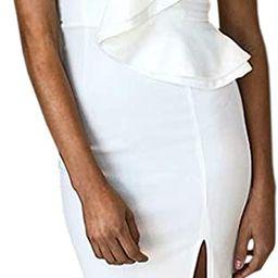 ECOWISH Women's Dresses Sexy Ruffle One Shoulder Sleeveless Split Bodycon Midi Party Dress | Amazon (US)