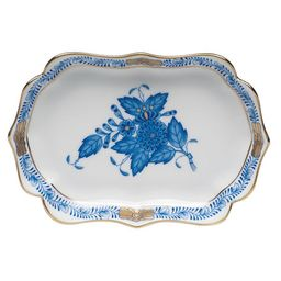 Herend Chinese Bouquet Mini Scalloped Tray - Blue | Neiman Marcus
