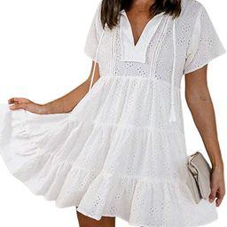 Women's 2021 Embroidery Summer Swing Mini Dress Flowy Loose Badydoll Dress | Amazon (US)