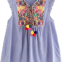 Women's Ruffle Striped Mexican Embroidered Babydoll Blouse Top | Amazon (US)