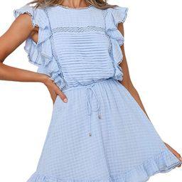 Women's Summer Ruffle Backless Mini Dress Tie Back A Line Skater Cotton Short Dress | Amazon (US)
