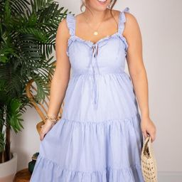 CAITLIN COVINGTON X PINK LILY The Nantucket Ruffle Trim Blue Midi Dress   The Pink Lily Boutique