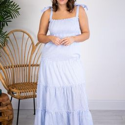 CAITLIN COVINGTON X PINK LILY The Santorini Striped Blue/White Maxi Dress   The Pink Lily Boutique