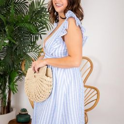 CAITLIN COVINGTON X PINK LILY The Hamptons V-Neck Striped Blue Midi Dress   The Pink Lily Boutique